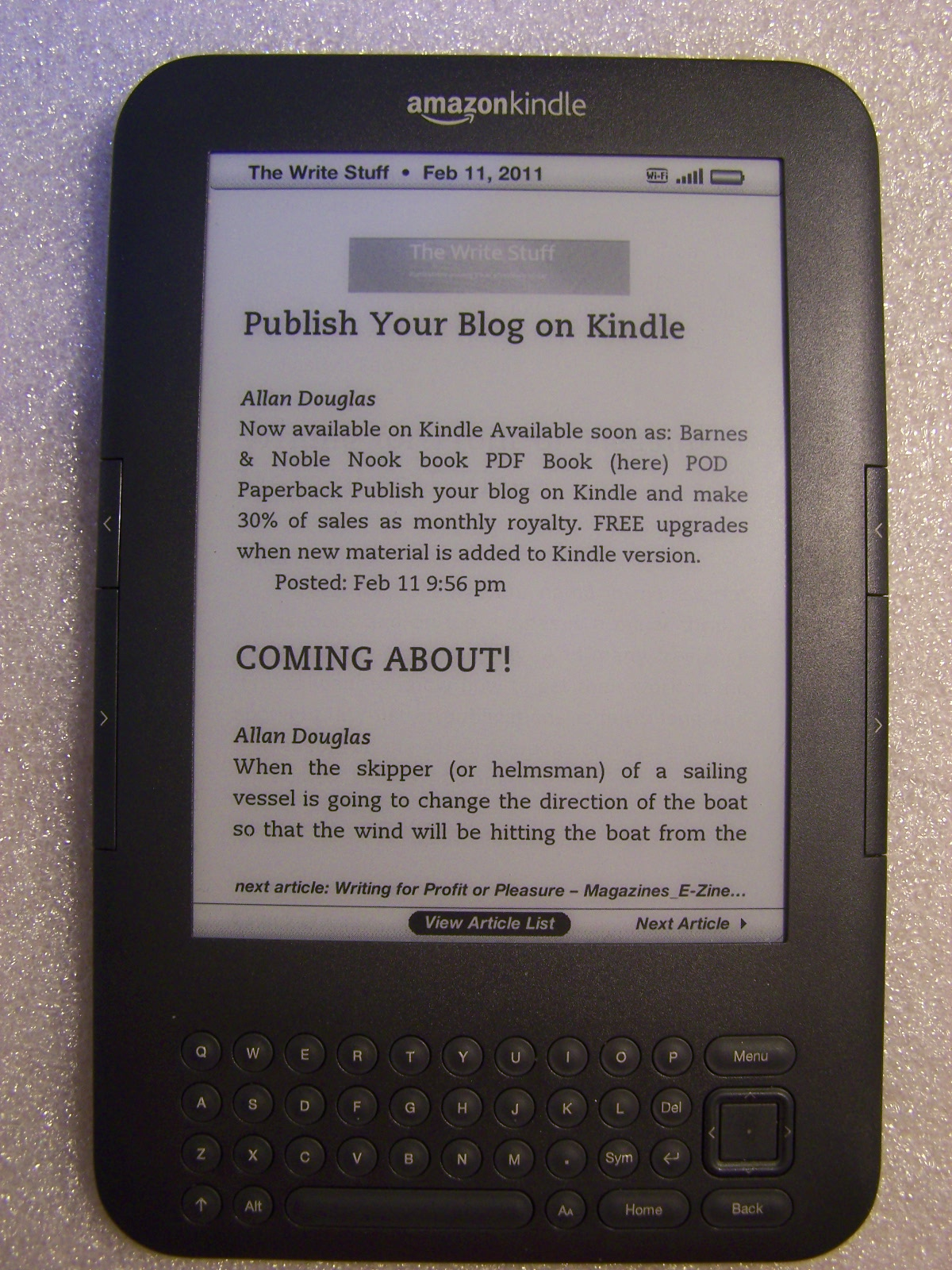 kindle in article mode